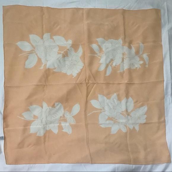Chanel Blush and White Silk 90cm Scarf